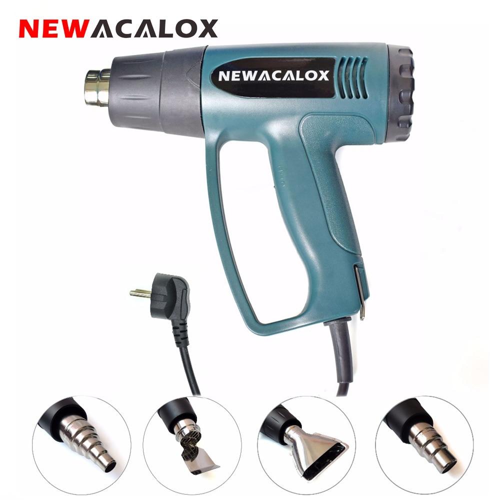 NEWACALOX Tepelná pistole 2000W EU 220V průmyslová elektrická horkovzdušná pistole termoregulátor smršťovací balicí termo s 4ks vyhřívací tryskou