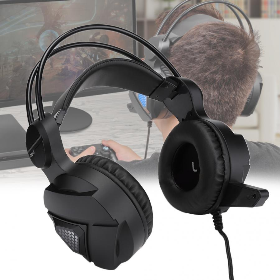 Black Gaming Head Wear Headset Wired Stereo Sound PC Game Headphone with Microphone Gaming Headset