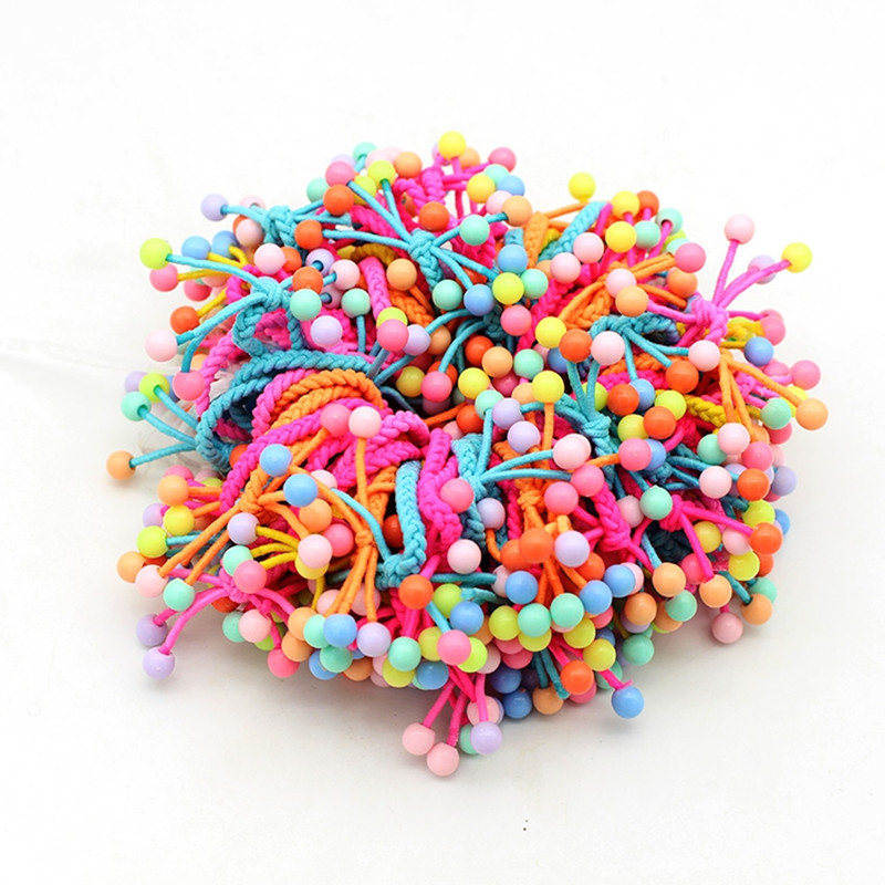 10PCS/Lot Cute Small Beads Elastic Hair Band Hand-knitted Knotted Hair Tie Bow Ponytail Hair Rope For Kids Girl Hair Accessories