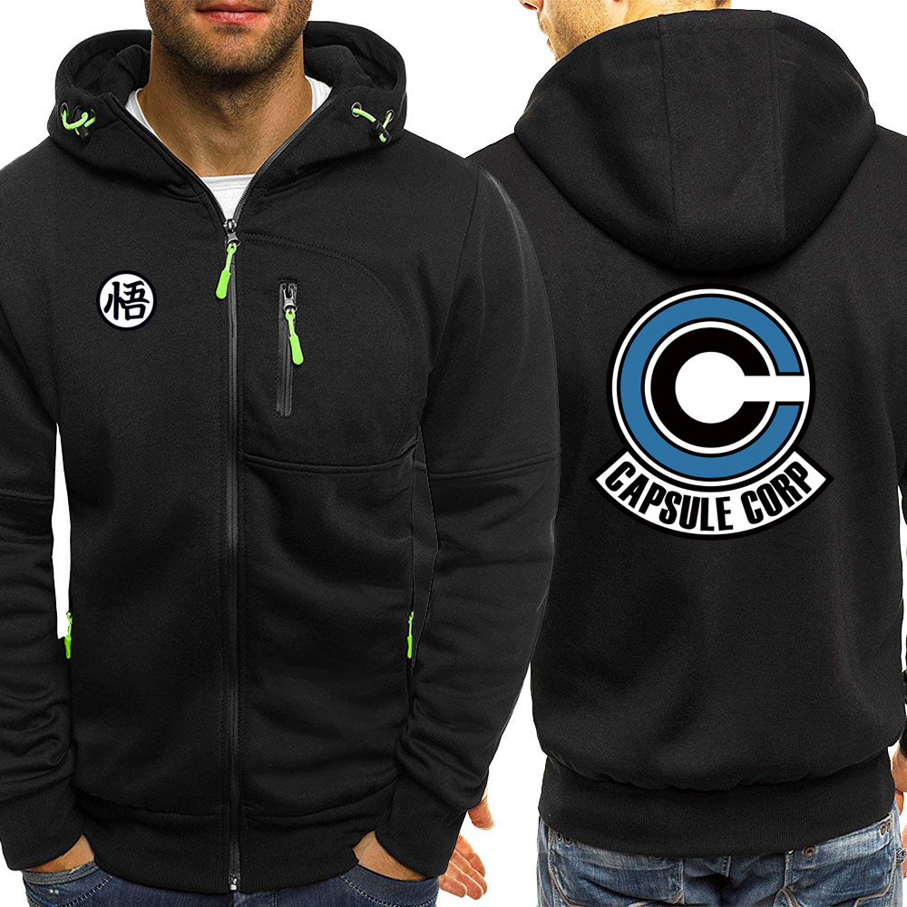 CAPSULE CORP Male Zip Hoodies Japan Anime Dragon Ball Clothes Fleece Sports Jacket Men Personalized Outwear Mens Warm Sweatshirt