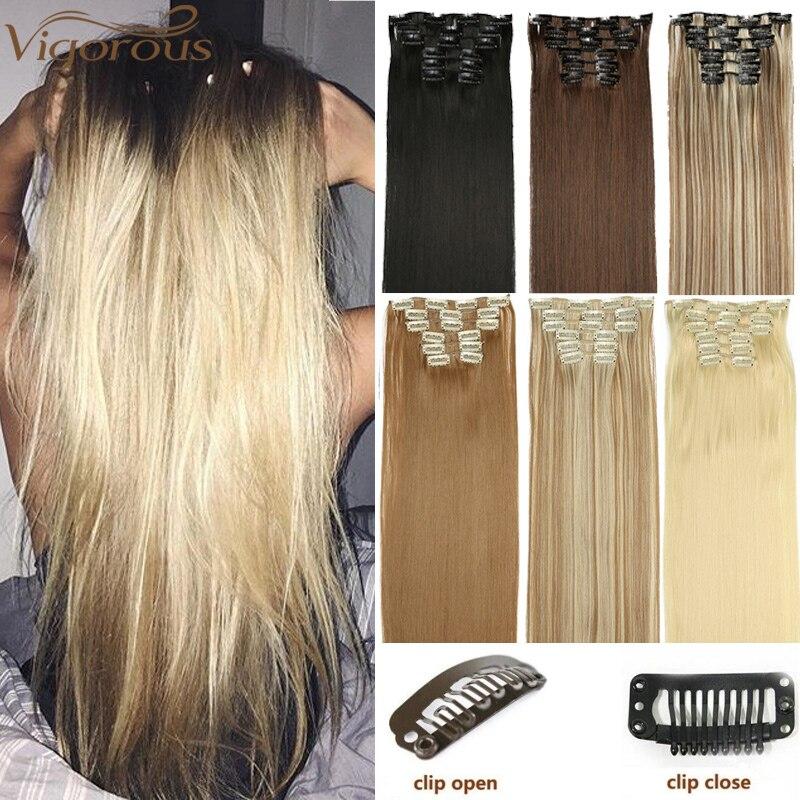 Vigoureux 16 Clips 6 pièces/ensemble soyeux droit synthétique pince dans les Extensions de cheveux pour les femmes faux postiche résistant à la chaleur 22 pouces