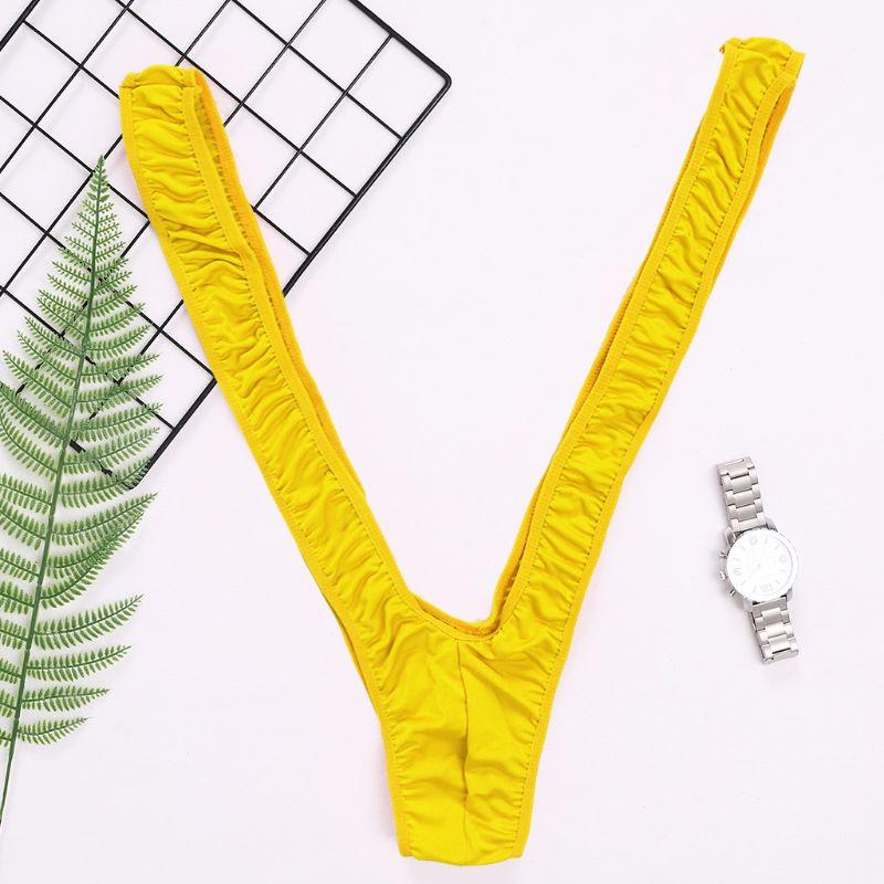 Mens Lingerie Shoulder Straps Mankini One-Piece V Sling Stretch Singlet Bodysuit
