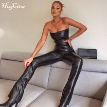 Hugcitar 2020 Sleeveless Solid Pu Leather Backless Tube Top Leggings 2 Pieces Set Autumn Winter Women Sexy Streetwear Tracksuit