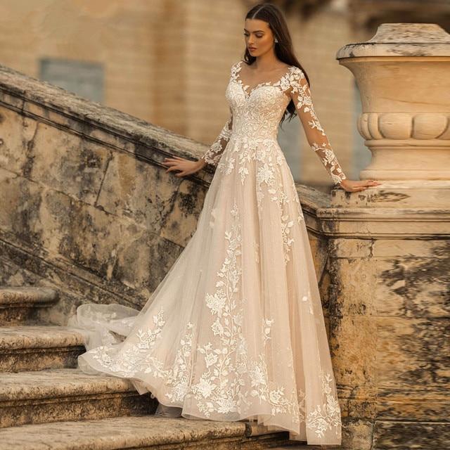 Lace Applique Glitter Tulle Wedding Dress Long Sleeved Scoop Neck Vintage A Line Bridal Gown Lace-up Open Back Elegant Ivory 1