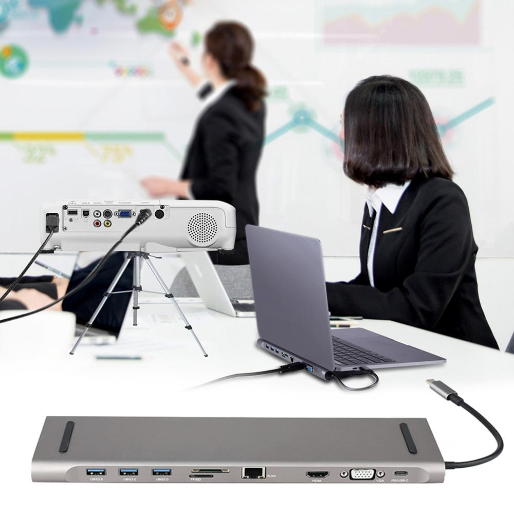 USB HUB 9 in 1 Thunderbolt 3 Type C Adapter Dock 2 USB 3.0 Port 4K HDMI 1080P VGA RJ45 Gigabit Ethernet For Macbook Pro PC