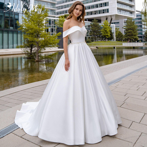 Image 1 - Adoly Mey Romantic Sweetheart Neck Lace Up Bride A Line Wedding Dress 2020 Luxury Beaded Satin Court Train Princess Wedding Gown