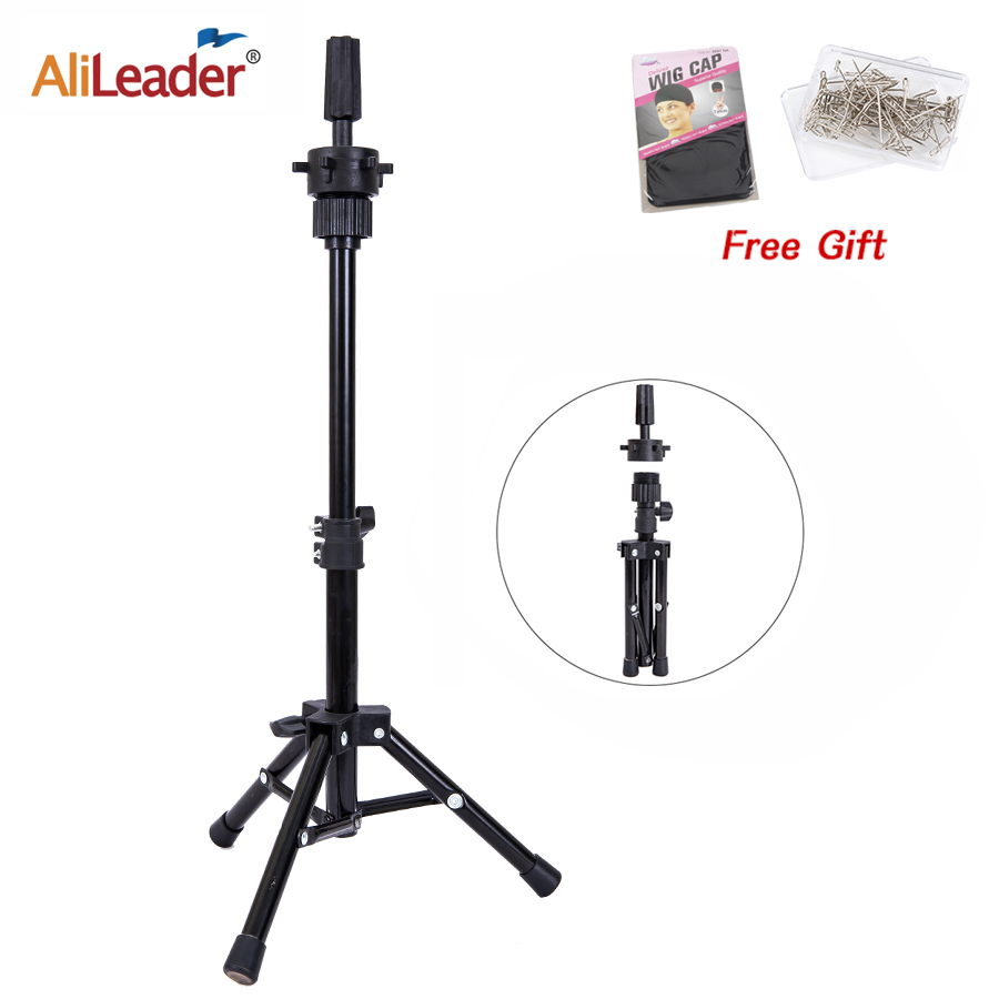 Alileader Tripod Wig Stand Professional Wig Tripod Stand For Training Mannequin Head Tripod Stand Holder Adjustable Wigs Stand