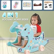 Rocking-Chairs Ride-On-Toys Horse-Stroller Kids Plastic with Multi-Function Baby 4-In-1