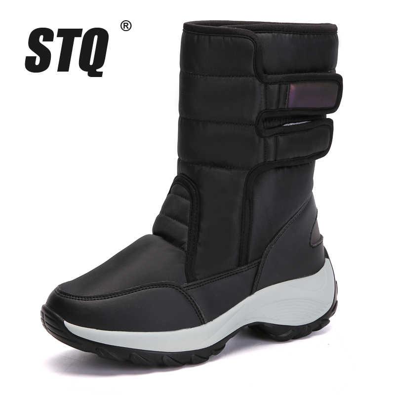 STQ 2020 kış kar botları kadın yarım çizmeler kadın süet deri sıcak peluş kadın çizmeler bayanlar su geçirmez düz ayakkabı 1618