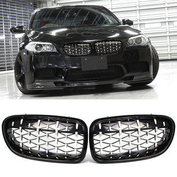 Gloss Black & Chrome Front Kidney Grille Grill M Diamond Style For BMW F10 F11 528i 535i 4D M5 2011-2016 made in taiwan carbon fiber material m5 look front kidney grill grille for bmw 5 series f10 sedan 2010 520i 525i 530i 535i