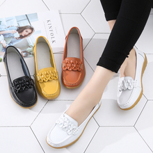 Women Flats Summer Genuine Leather Shoes With Low Heels Slip On Casual Flat Loafers Soft Nurse Ballerina
