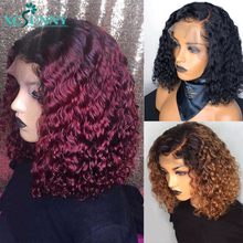 13x6 Lace Front Curly Bob Wig 1b 99j 1b 30 Ombre Human Hair Short Wig 150 180 Density Remy Brazilian Frontal Pre Plucked xcsunny