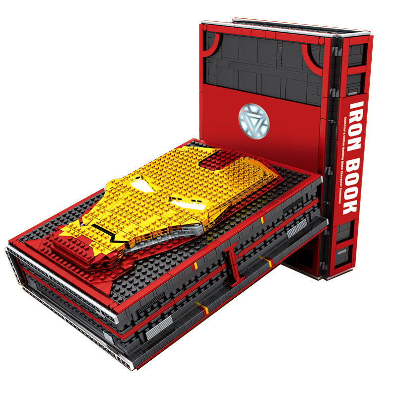 New Super Heroes Iron Man Batman Spider Man Book Underground Laboratory Base Mark Armor Set Building Book Block Gift