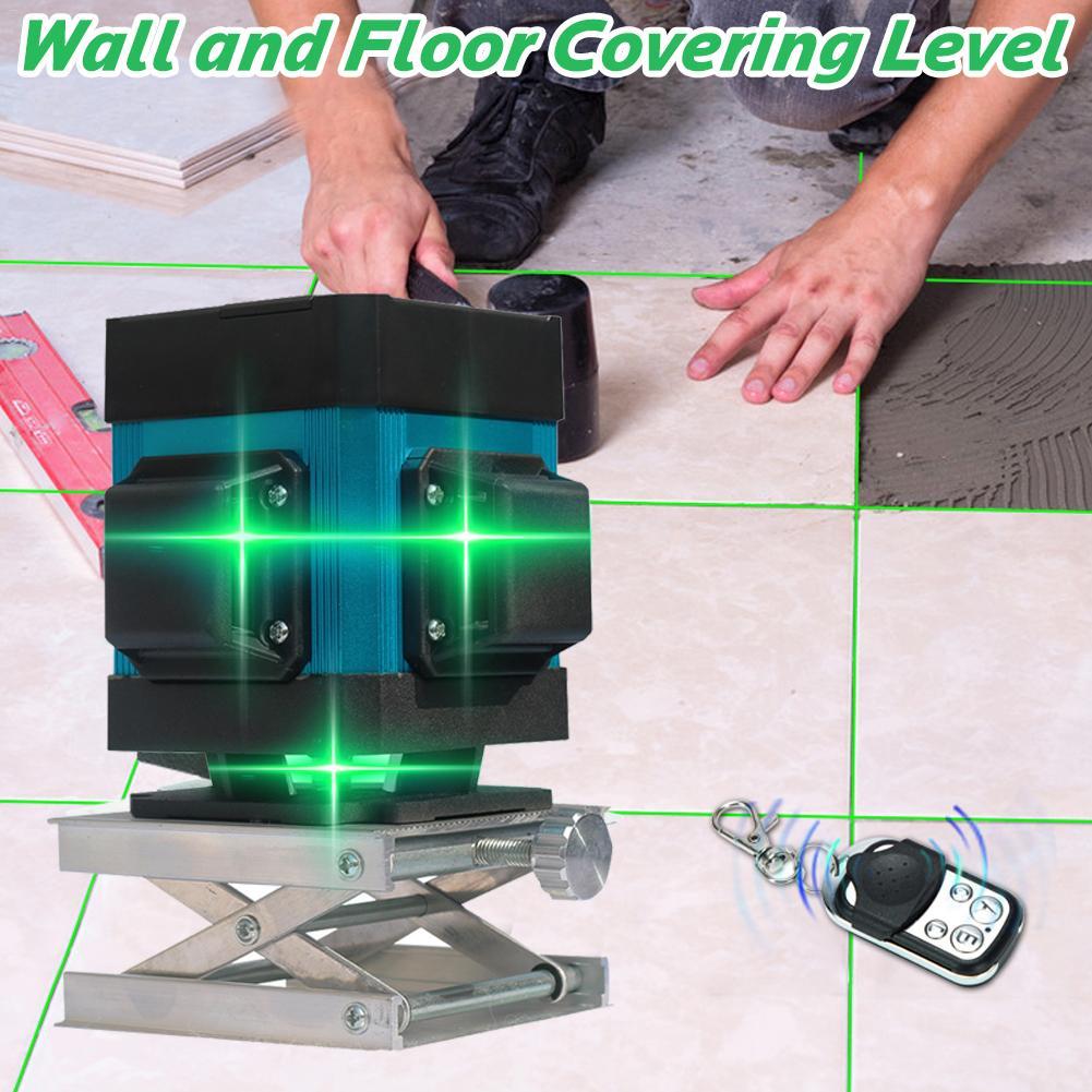 Zielone światła 12 linii poziom lasera o wysokiej precyzji z płaskim blask płytki podłogowe poziomowania ćwiczeń na ziemi według wskazań przyrządów linii inteligentny pilot zdalnego sterowania