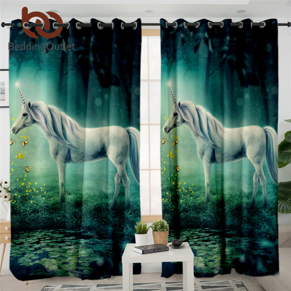 BeddingOutlet Dreamy Unicorn Curtain For Living Room Butterfly Blackout Bedroom Curtain Forest Fairy Tale Window Treatment Drape