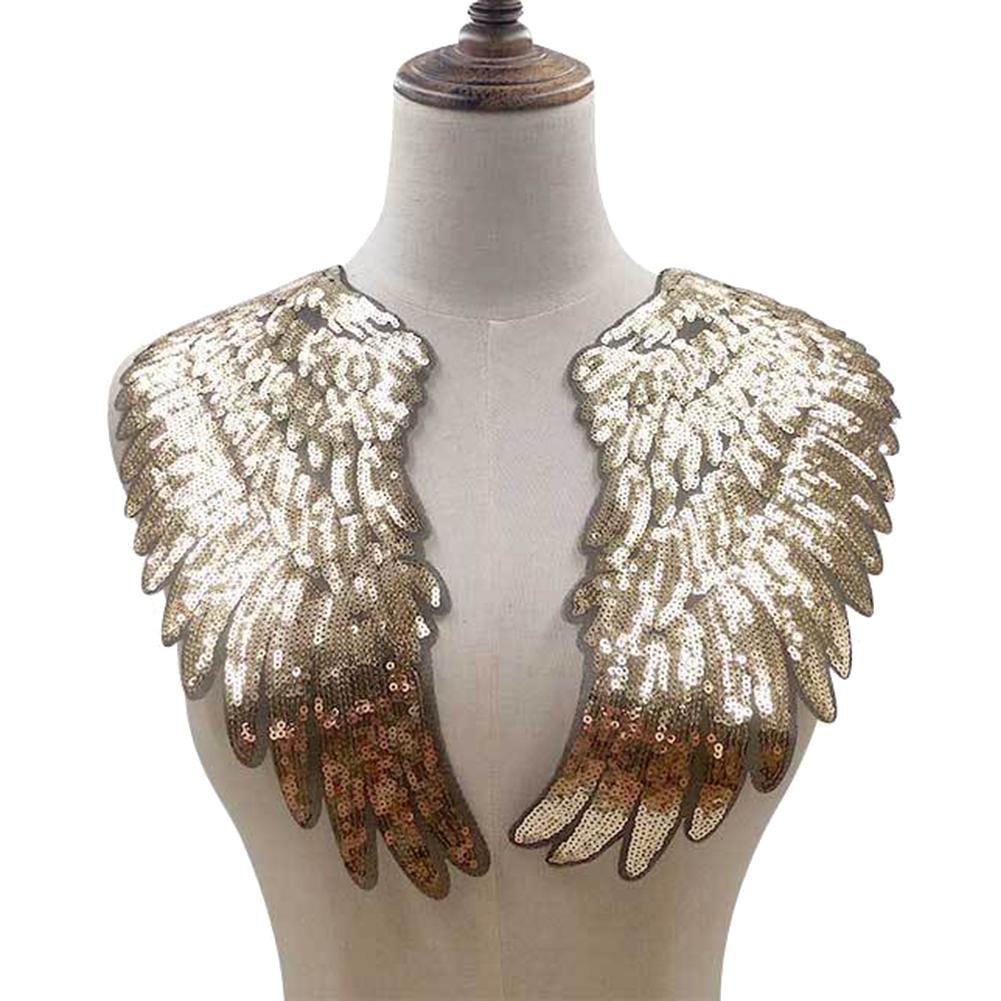 SANWOOD 1 Pair Trendy Design Sequins Wing Applique Embroidered Sewing On Patches Clothes Decoration DIY Apparel  Gifts For Woman