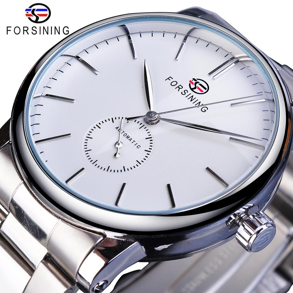 Forsining Mechanical Automatic Mens Watches Classic Man Watches Top Brand Luxury Silver Stainless Steel Business Fashion Clock