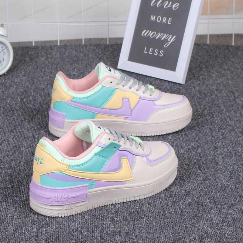 Flat Platform Shoes 2020 Skate Shoes Macarone Ulzzang Candy Woman Ins Leisure New Chic Women Tide Low Top Sneakers Streetwear
