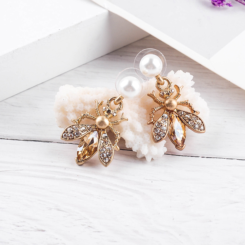 Hf931918fd16b403a885a15703ac59638i - Bohemia Handmade Crystal 2 Color Insect Drop Earring For Women Wholesale Jewelry Free Shipping