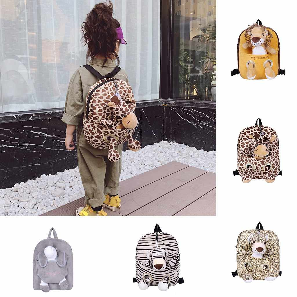 Children 2019 New Fashion Leopard Wild Corduroy Backpack Variety Backpack Character Cartoon Cute Fashion Zipper Kid's Backpack