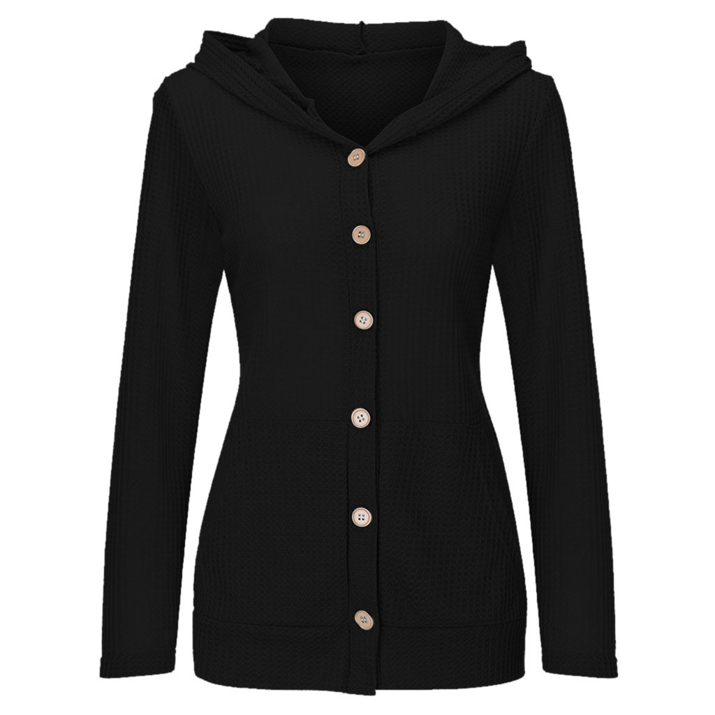 Women Casual Pocket Button Blouse Solid Long Sleeve Knitted Hooded  Tops  women 2020