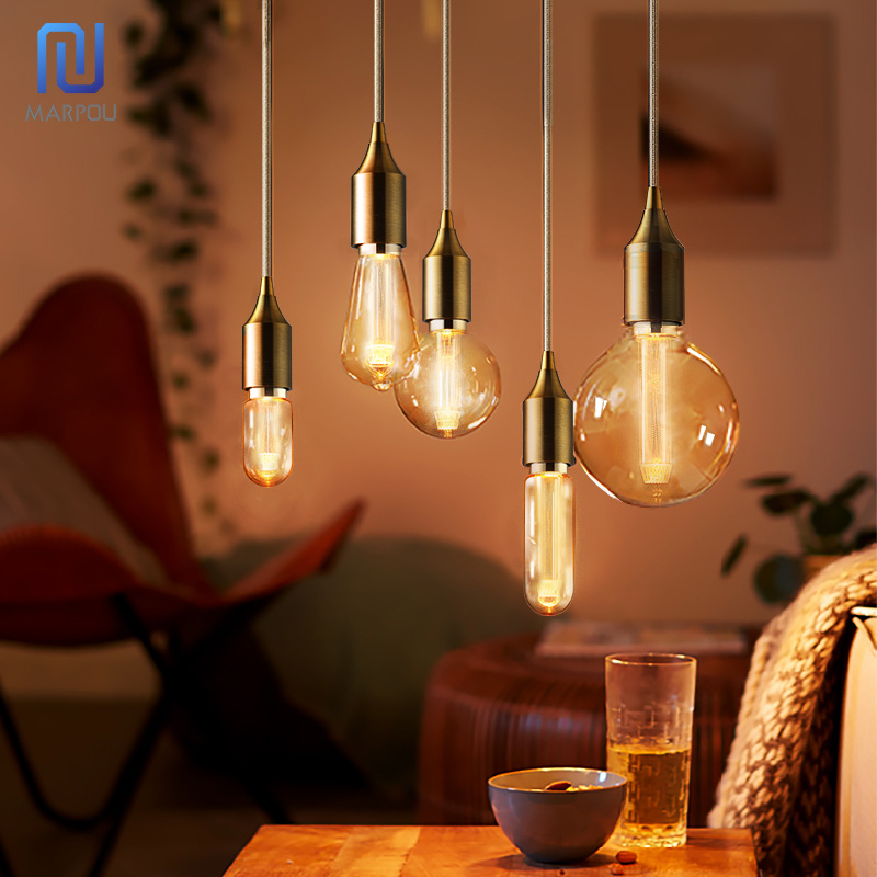 Retro Edison Light Bulb E27 220V DST64 DT45 DG80 DG95 DG125 Filament Incandescent Ampoule Bulbs Vintage  Coffe Shop Bar Christma