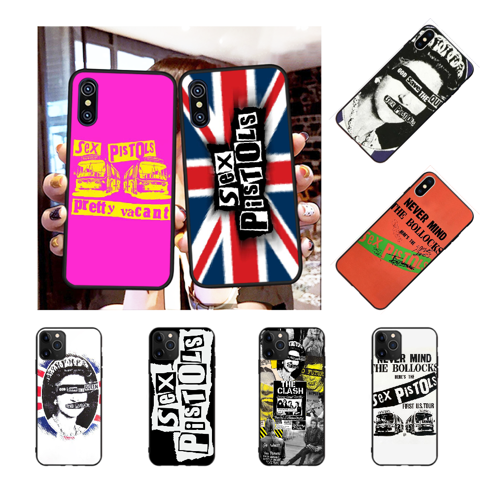 NBDRUICAI Punk rock Sex Pistolen Telefon Fall für <font><b>iPhone</b></font> 11 pro XS MAX 8 7 <font><b>6</b></font> 6S <font><b>Plus</b></font> X 5S SE XR fall image