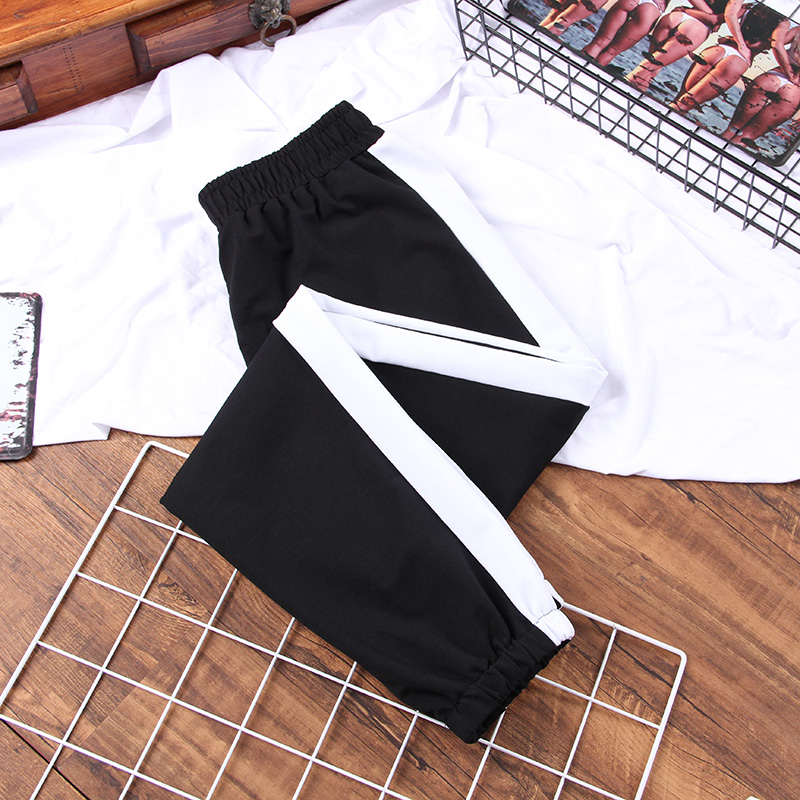 DONAMOL Plus Size Autumn Sport Cargo Pants White Stripe Pants Women Middle Waist Streetwear Cool Girl Harajuku Hip Hop Pants