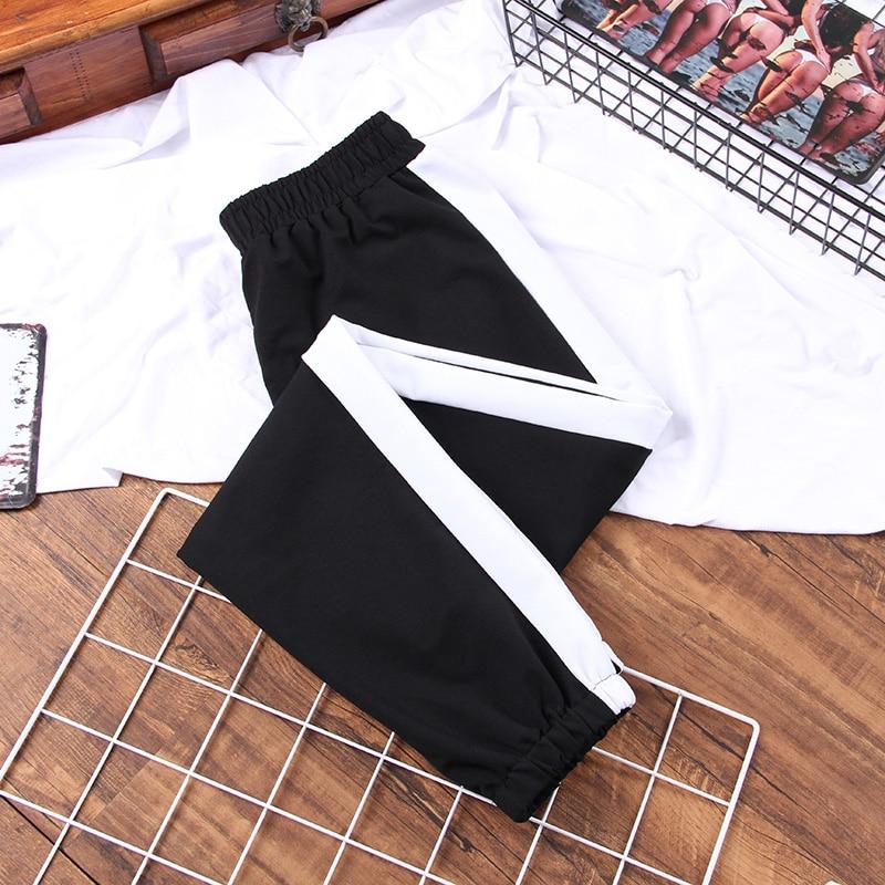 DONAMOL Plus Size Autumn Sport Cargo Pants White Stripe Pants Women Middle Waist Streetwear Cool Girl Harajuku Hip Hop Pants