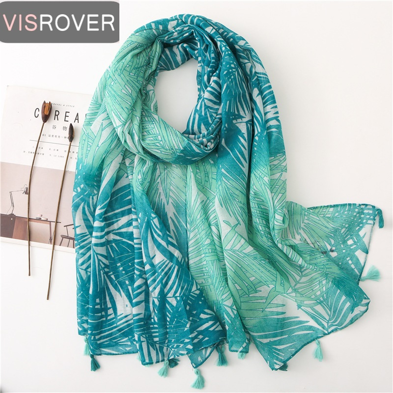 VISROVER 2020 New Summer Scarf For Women Girl Beach Dress Top Lady Tropical Print Scarf  Beach Scarf Sun Protection Shawl Wrap