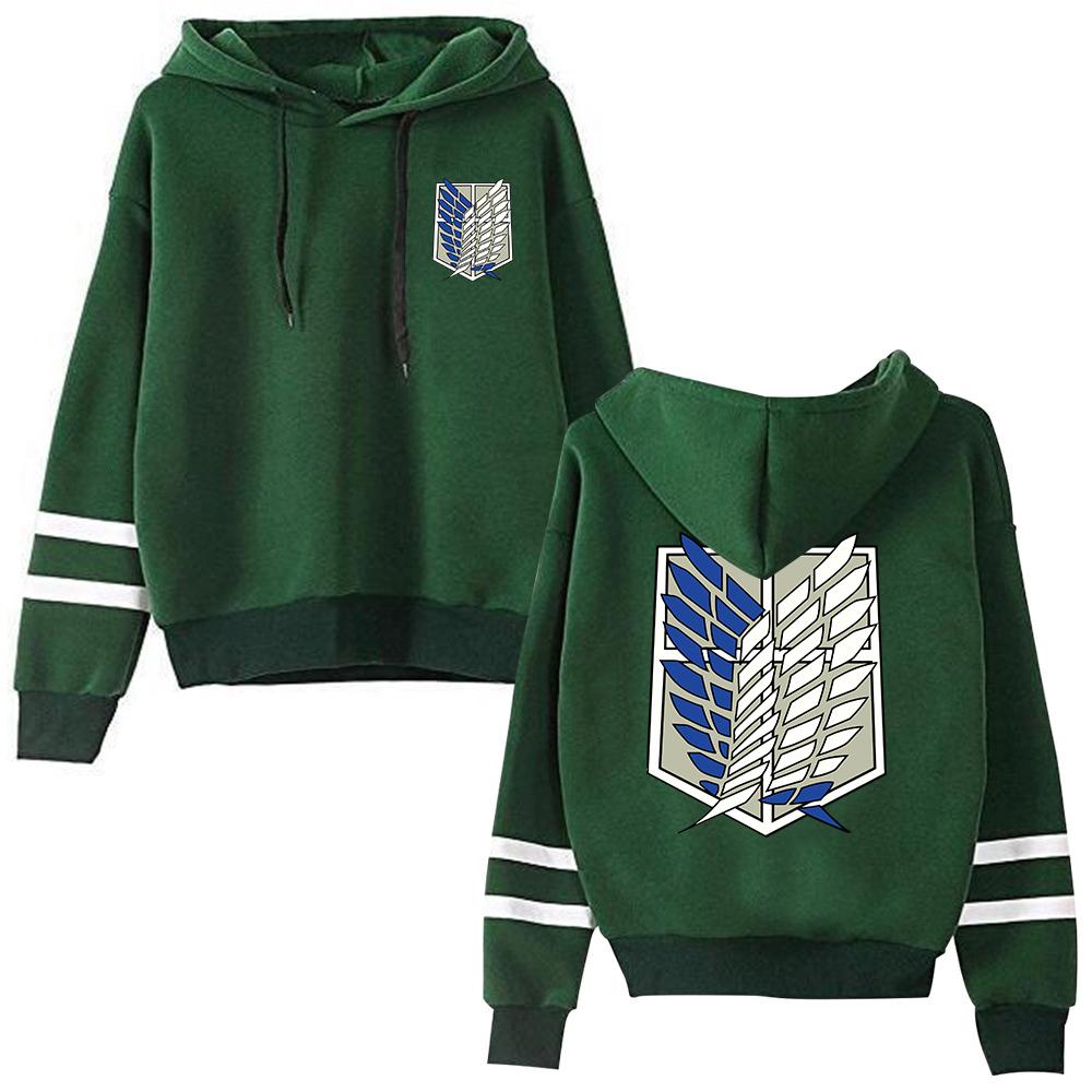 Attack on Titan Long Sleeved Striped Hooded Sweatshirt Pullover Tops Harajuku