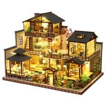 Комплект деревянного миниатюрного кукольного домика «сделай сам», роскошная Сборная модель для японского двора, набор для украшения дома, ...