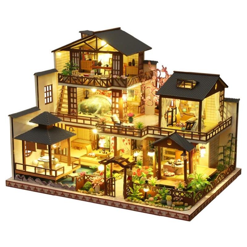Diy casa de boneca em miniatura de madeira kit luxuoso pátio japonês montagem do edifício modelo kit casa decoração presentes natal