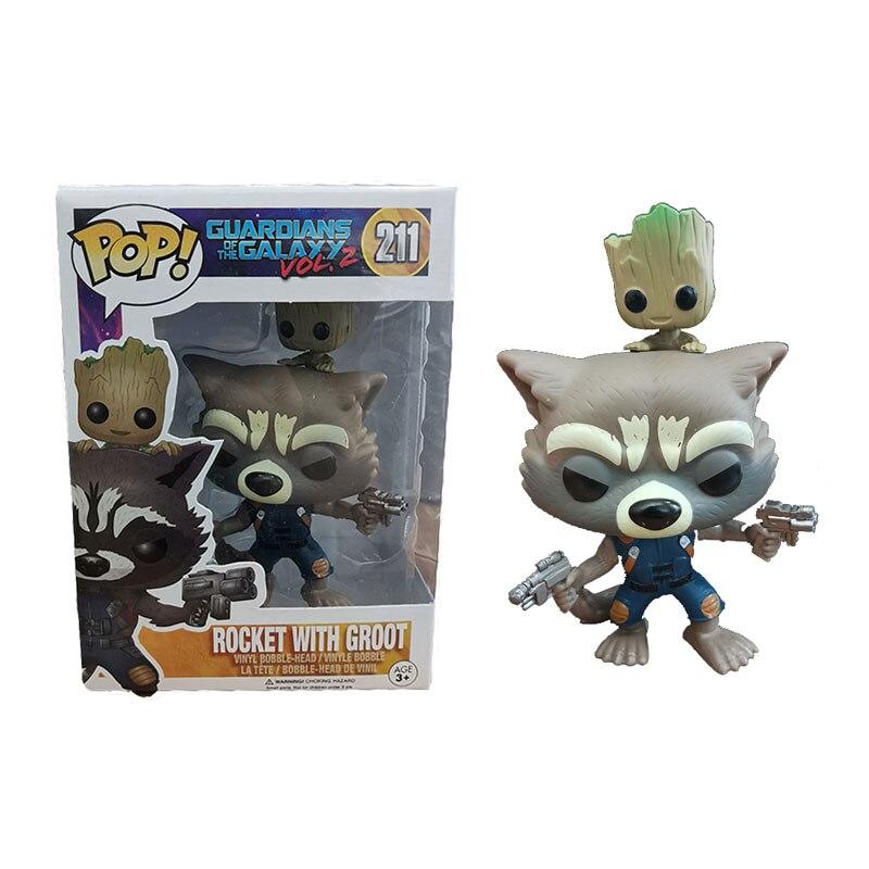 FUNKO POP Marvel Rocket Raccoon Groot POP Funko Originais Action Figures Collection Model Kids Toys For Children 3F88