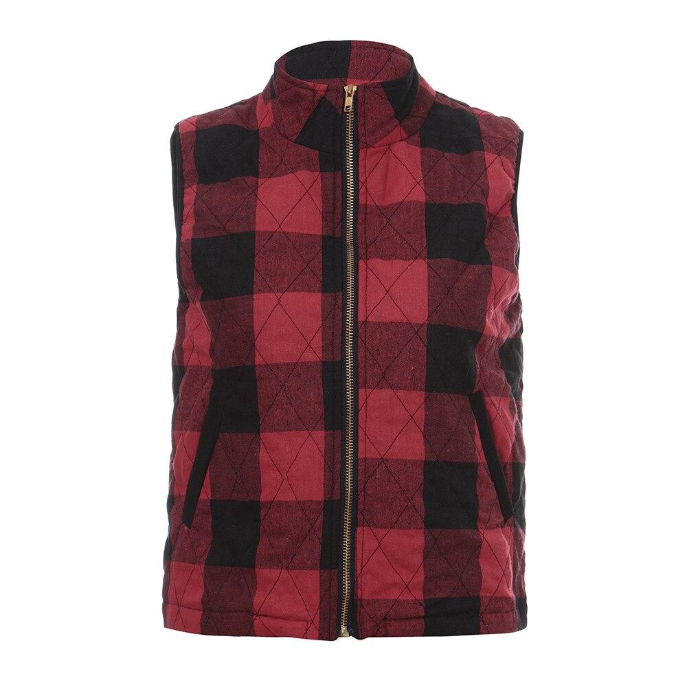 JAYCOSIN Women High Neck Sleeveless Sweater Pullover Blouse Shirts Coat Sweatshirt womens vests winter outerwear plaid vest