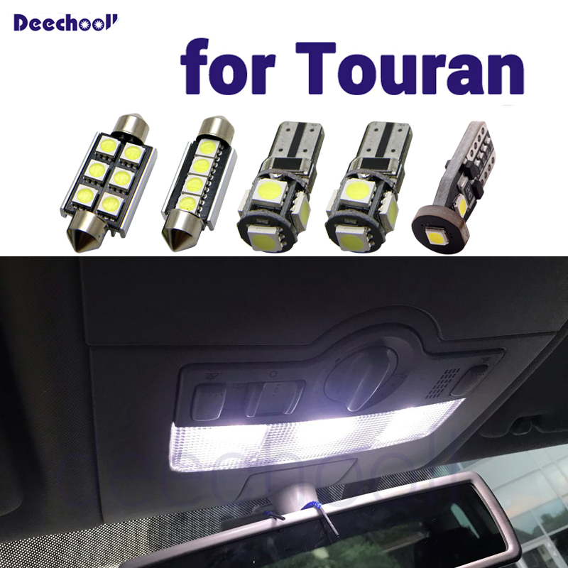 Pure white Canbus Error Free LED Interior dome map Lights bulbs Kit for Volkswagen for VW Touran 1T1 1T2 1T3 2003 2015interior lightinterior lights for carscar interior dome light -