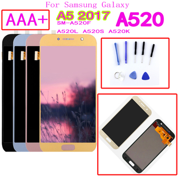 AAA+ For Samsung Galaxy A5 2017 A520F SM-A520F A520 LCD Display Touch Screen Digitizer Glass Assembly Replacement Parts for samsung galaxy j3 2017 j330 lcd display touch screen digitizer replacement for samsung j330f sm j330f phone parts freetools