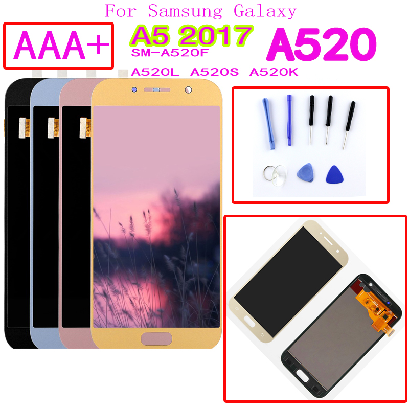 AAA+ For <font><b>Samsung</b></font> Galaxy A5 2017 <font><b>A520F</b></font> SM-<font><b>A520F</b></font> A520 LCD <font><b>Display</b></font> Touch Screen Digitizer Glass Assembly Replacement Parts image