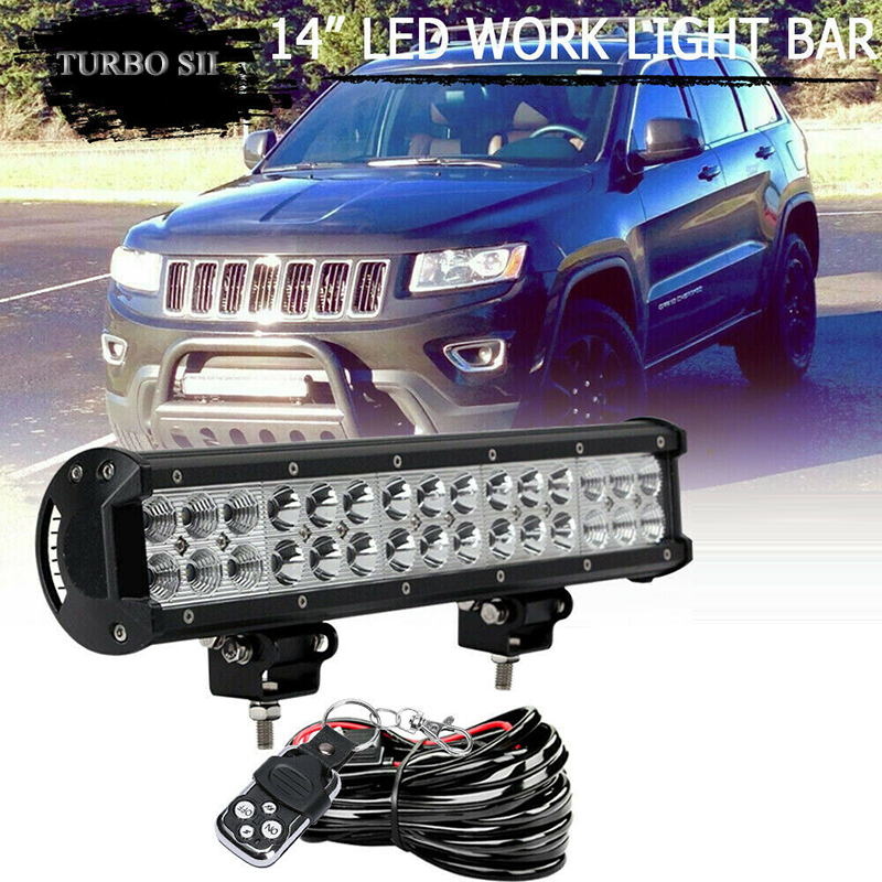 TURBOSII 90W 14INCH Dual Row LED Light Bar Spot Flood Offroad Fog Lamp For Truck