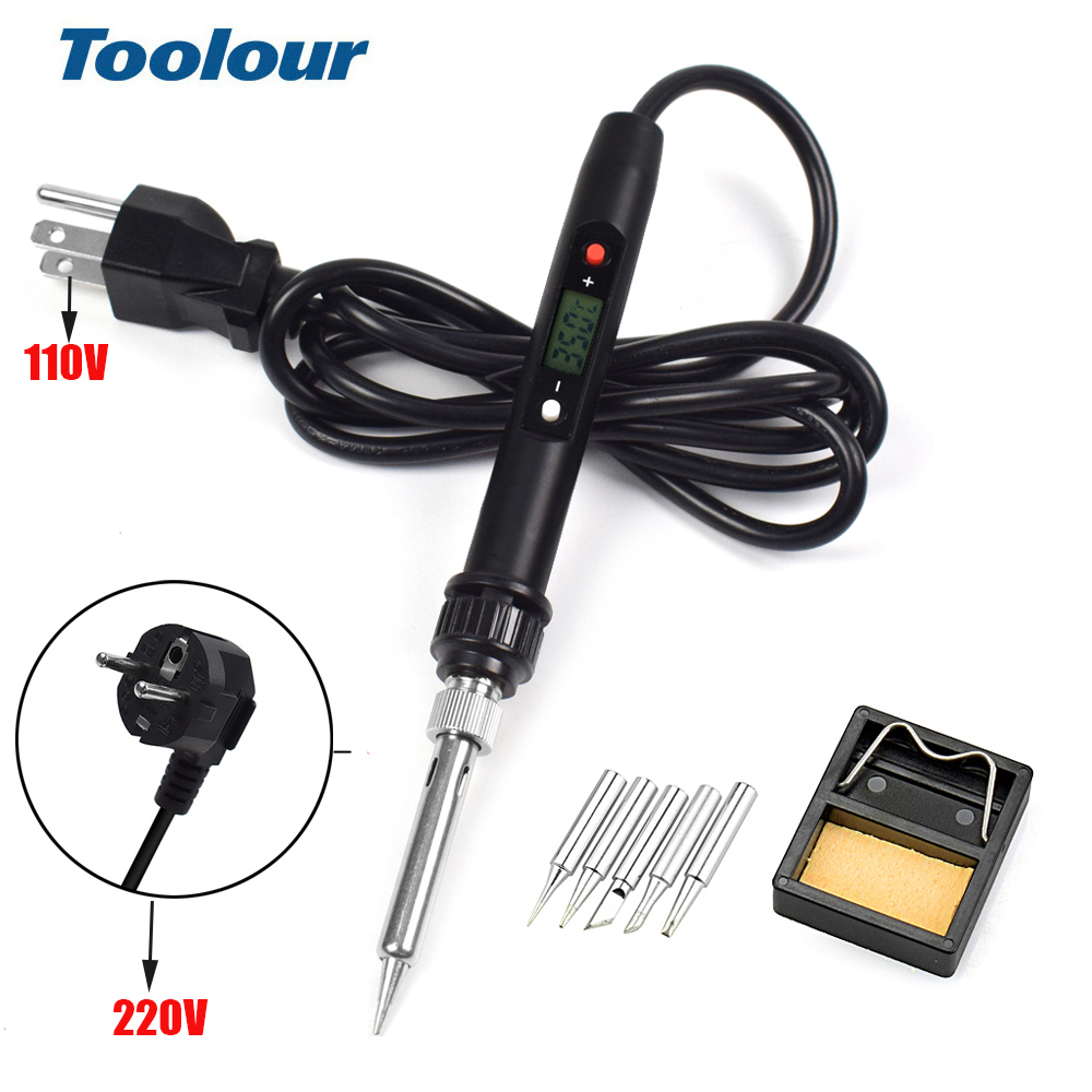 Toolour  EU/US 220V/110V 80W Adjusting Temperature Electric Soldering Iron Welding Tool Set With 5 Iron Tips Soldering Stand