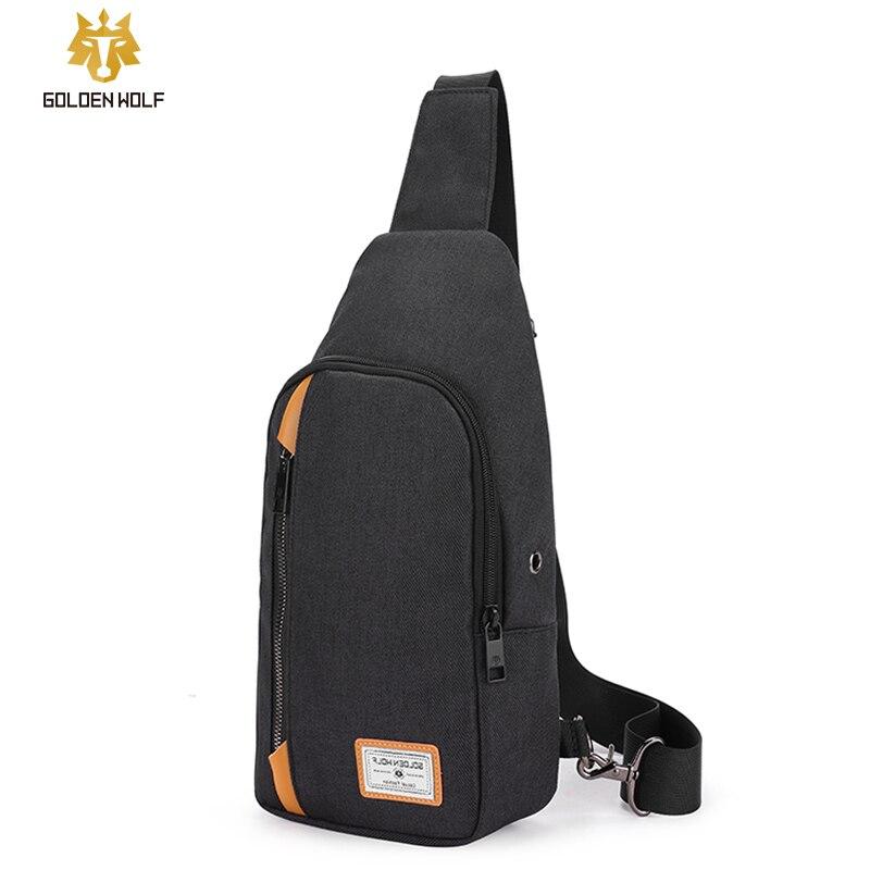 Goloen Wolf Anti-Theft Men's Messenger Bags Multi-pocket Sling Shoulder Bags Casual Chest Pack Laptop Travel Crossbody Bags Male