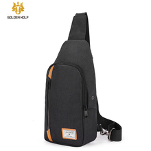 Goloen Wolf Anti Theft Mens Messenger Bags Multi pocket Sling Shoulder Bags Casual Chest Pack Laptop Travel Crossbody Bags Male