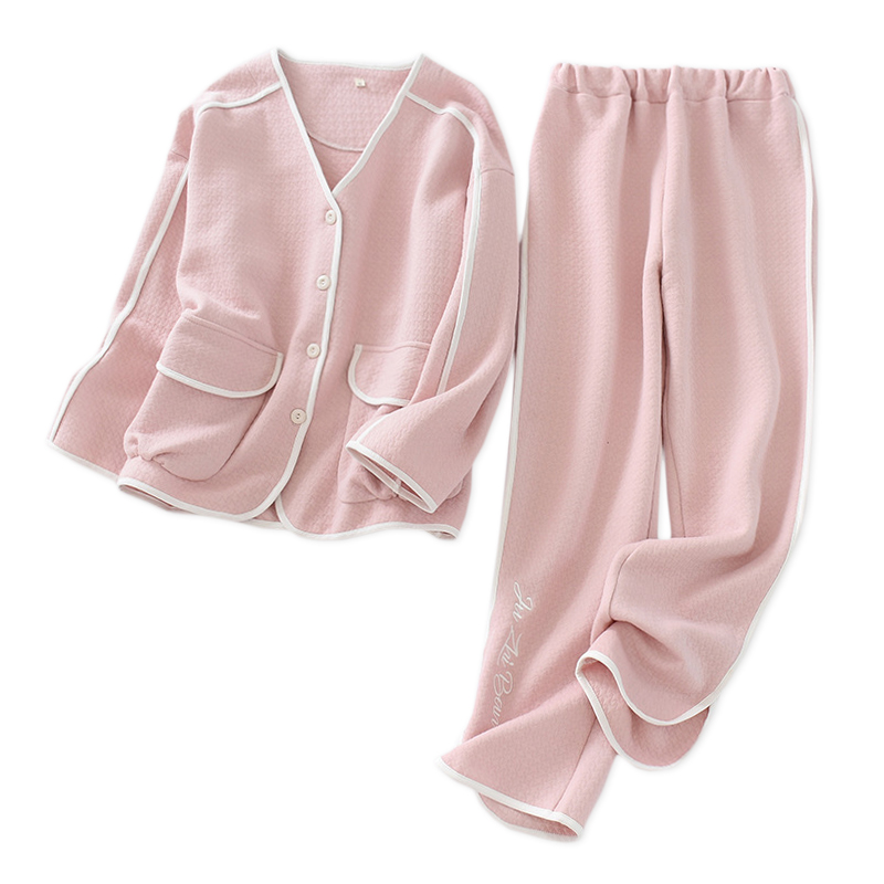 Japanese Sweet V-neck Pajamas Sets Women Winter Keep Warm Scuba 100% Cotton Sleepwear Women Long Sleeve Quality Pyjamas Women