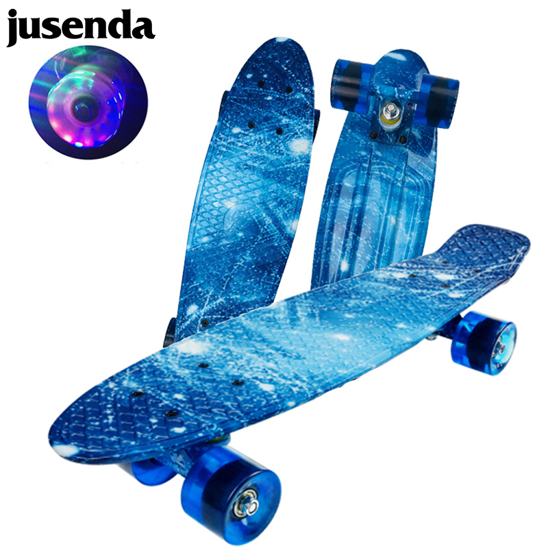 Jusenda 22 дюймов мини крейсер скейтборд флэш рыбы доска Детский скутер PP Лонгборд Пенни Доска полный печатных скейт доска