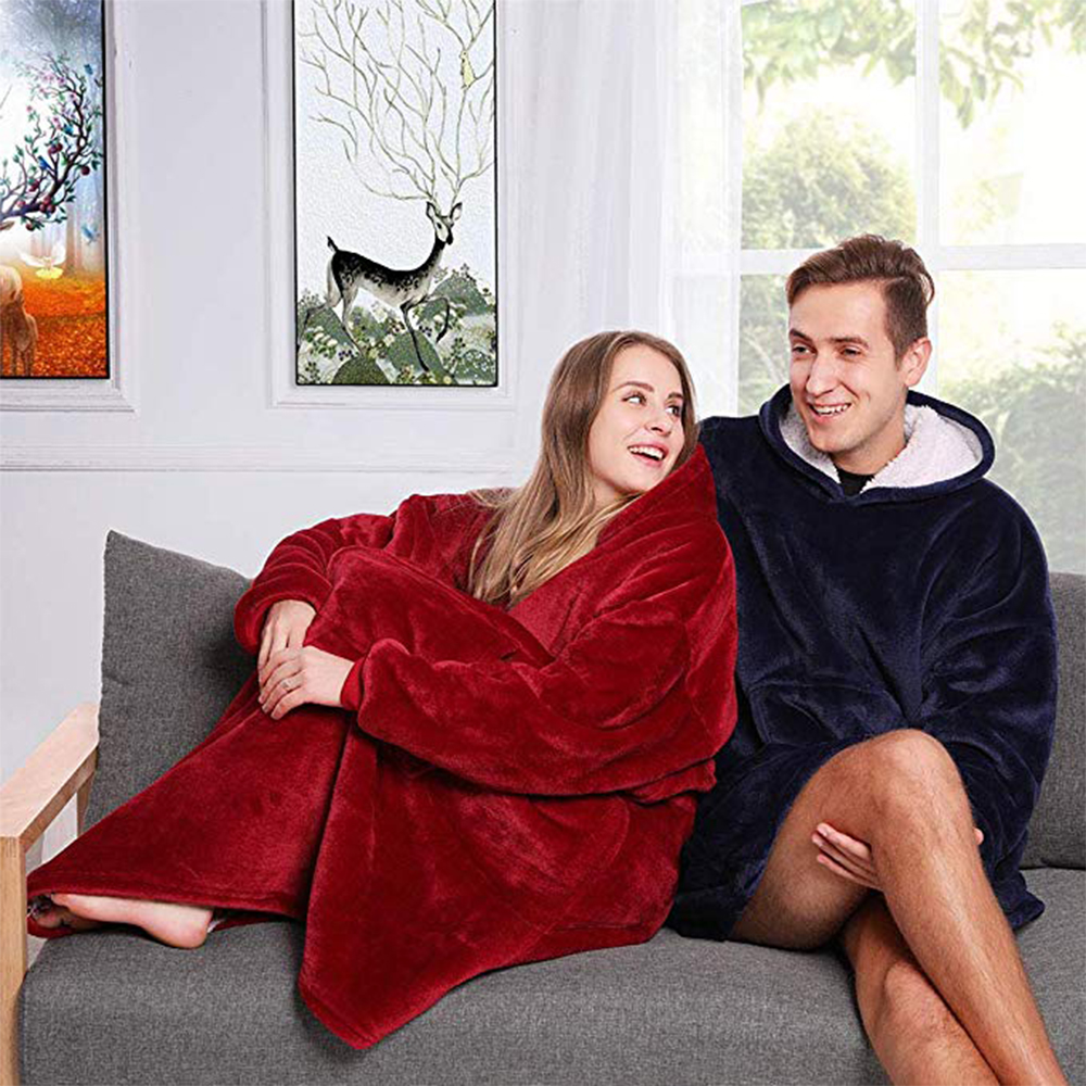 Microfiber Plush Sherpa Blanket With Sleeves Super Soft Coral Fleece Warm Blanket Outdoor Pocket Hoodie Adult Winter TV Blankets