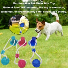 Multifunction Pet Molar Bite Toy Cleaning Teeth Safe Elasticity Soft For Dog Puppy Toy Resistant Suction Cup Dog Ball Biting Toy