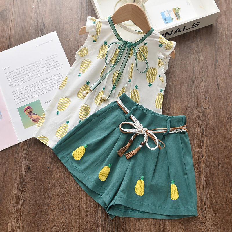 Menoea Girls Suits 2020 Summer Style Kids Beautiful Floral Flower Sleeve Children O-neck Clothing Shorts Suit 2Pcs Clothes 5