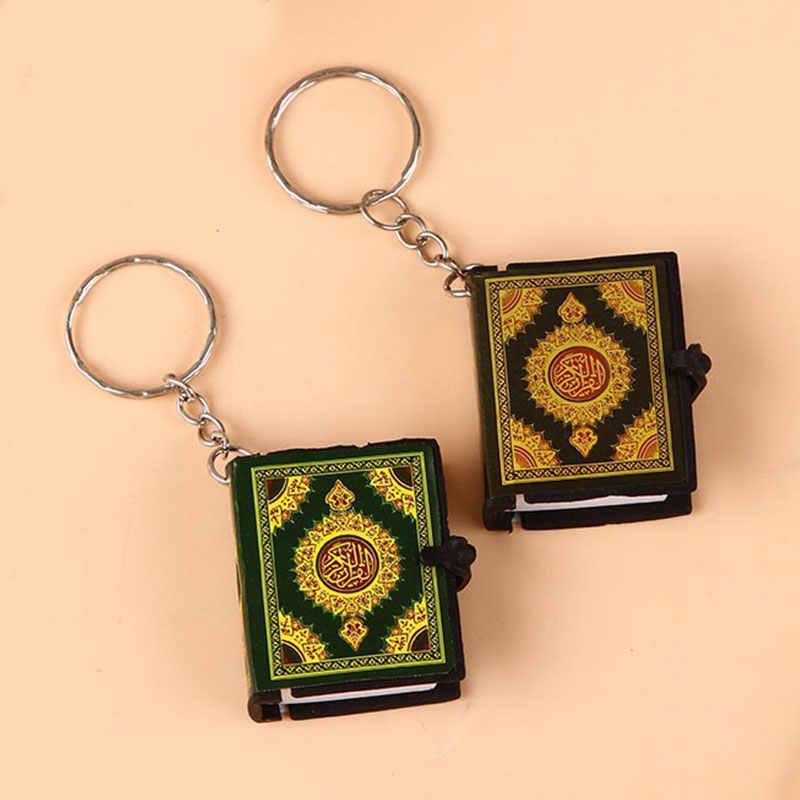 Llavero cuadrado musulmán islámico Mini Ark Corán libro papel llavero divertido puede leer colgante religioso llavero Unisex de alta calidad