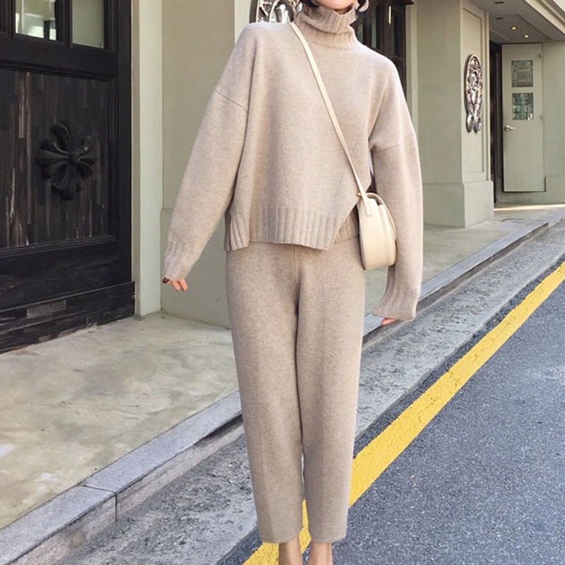 Knitted Turtleneck Sweater 2 Pieces Set Tracksuits Women 2019 Winter Autumn Loose Sweater+Ankle-Length Pants Warm Cashmere Suit