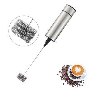 Promo Electric Handheld Milk Frother Foamer Double Spring Triple Spring Whisk Head Agitator Blender Mixer Stirrer Coffee Maker Tool